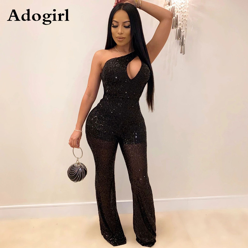 Women Sexy Sheer Mesh Sparkly Sequined Sexy One Shoulder Jumpsuit Hollow Out Skew Collar Romper Wide Leg Pants Party Overalls