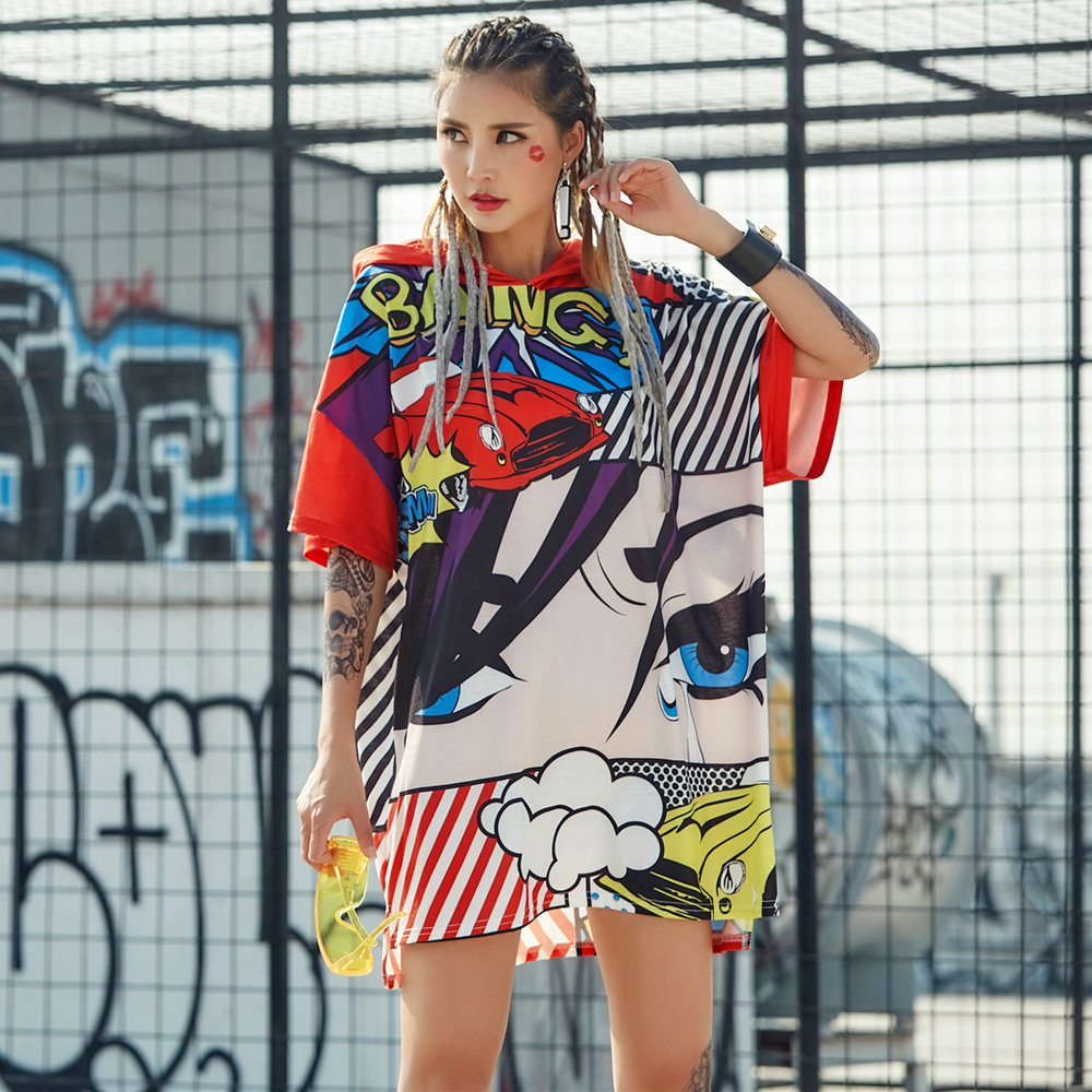 2020 Summer Tshirt Oversize Women Cartoon Eye <font><b>T</b></font> <font><b>Shirt</b></font> <font><b>Dress</b></font> Hooded Tops Half Sleeve Hip Hop <font><b>Rock</b></font> Stylish Colourful Pullovers image