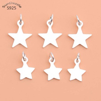 5pcs Real Pure Solid 925 Sterling Silver Star Pendant with Close Ring Pentagram Necklace Bracelet DIY Jewelry Making Findings