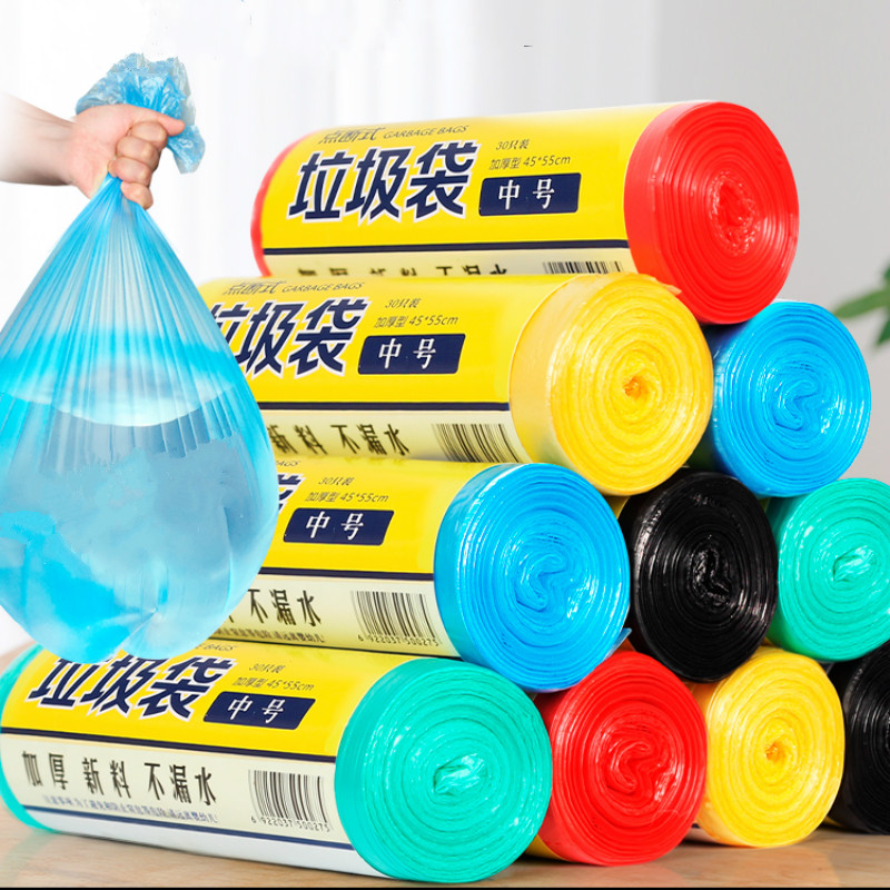 10Rolls Strong Thicken  Plastic Garbage Bag Household Supplies Vest Style Storage  For Trash Bag Home Waste Trash Bag