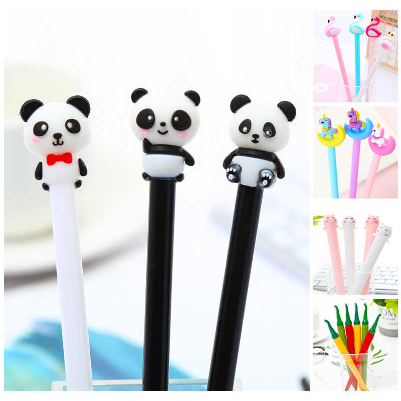 Creatieve Koele Grappige Eenhoorn Panda Gel Pennen Fluit Functie School Black Kids Pen School Office Supply Kawaii Stationaire Ding Kit