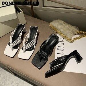 Fashion Square Heels Hausschuhe Frauen Sandalen Vintage Karree Schmale Band High Heel Sandale Frauen Sommer Schuhe Slides Flip-Flops
