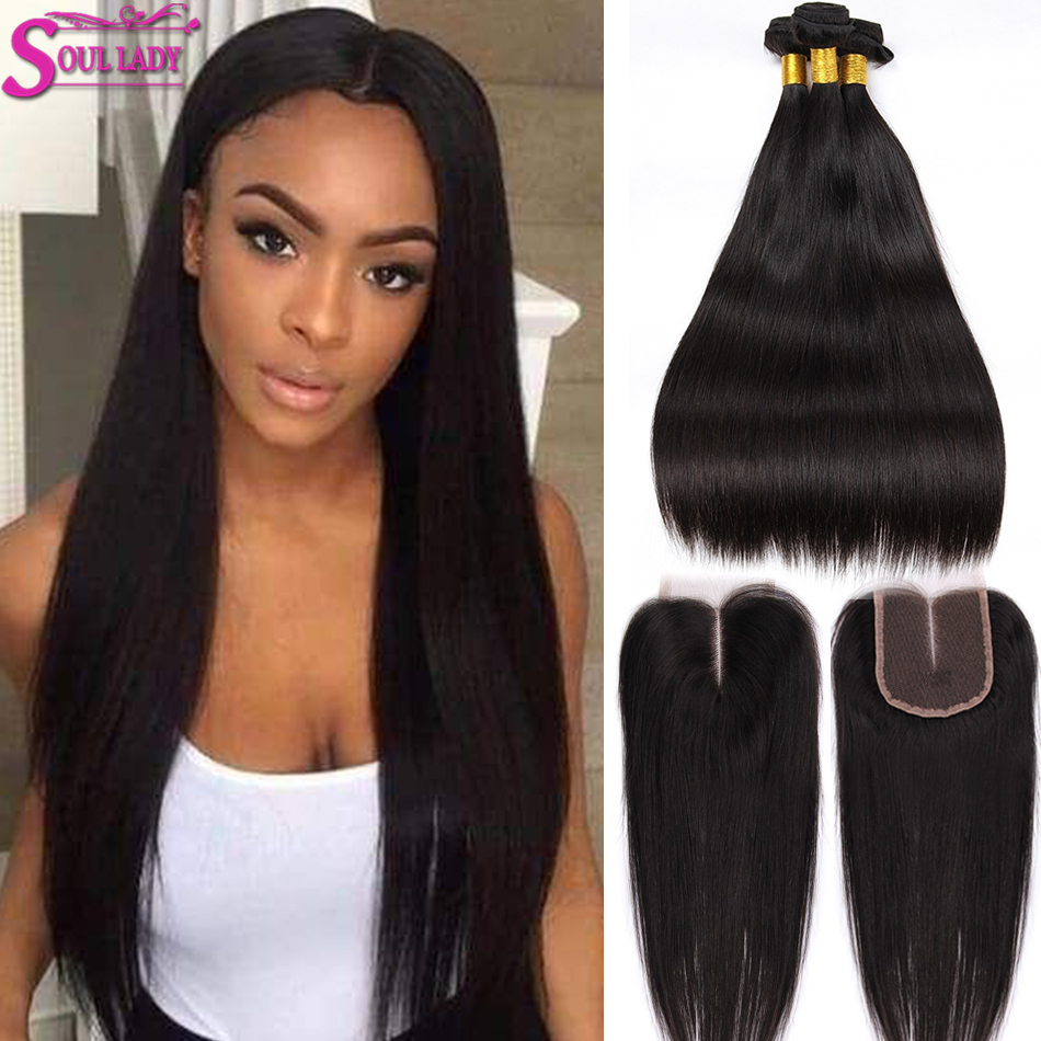 Soul Lady Straight Hair Bundles With Closure Brazilian Hair Weave Bundles With Lace Closure 100% Human Hair Bundles With Closure
