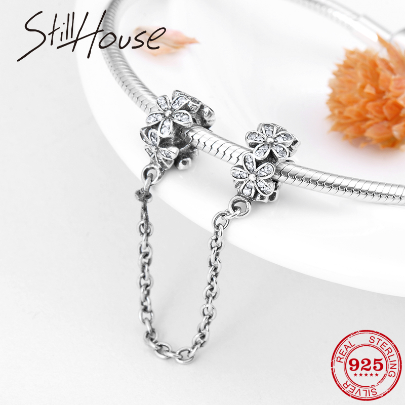 Safety Chain Bead Charms Real 925 Sterling Silver Lovely Small Flower CZ Fit Original Pandora Charm Bracelet Jewelry Making