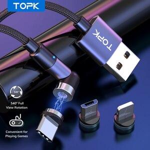 TOPK-Cable Micro USB magnético para móvil, Cable de carga magnético tipo C para iPhone, Xiaomi, Samsung