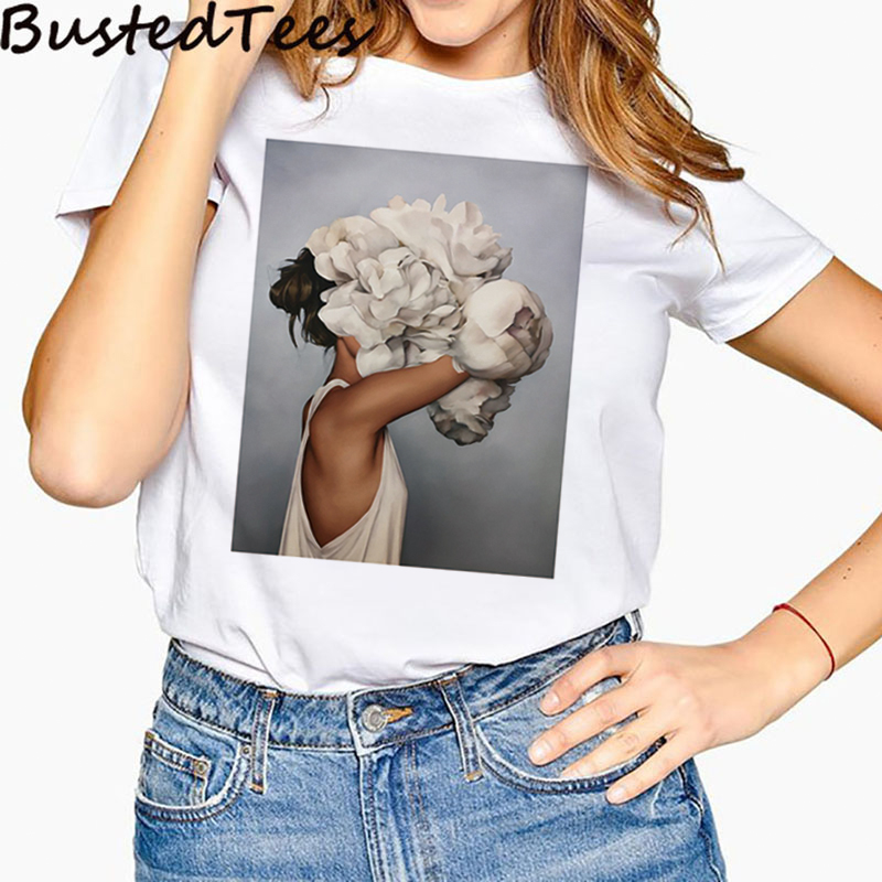 Fashion Women 3D Print Pure Beauty Flower Girl Painting T-Shirt Summer O-Neck Casual Style Comfortable White Tops Tee