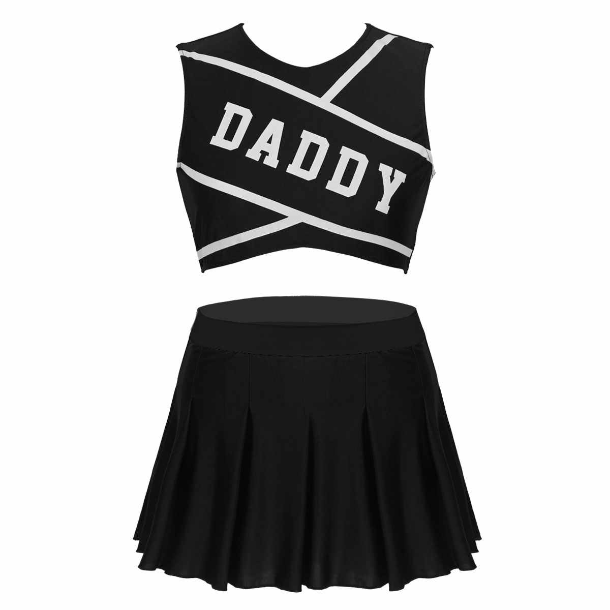Frauen Cheerleader Kostüm Schule mädchen sexy Cosplay kostüm rave outfits Rundhals Ärmel Crop Top mit Mini Plissee Rock