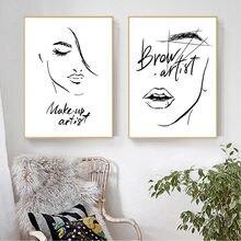 Toile d'art mural de maquillage à la mode, affiche imprimée de lèvres et cils, décoration de chambre de filles, tableau mural de Salon de beauté
