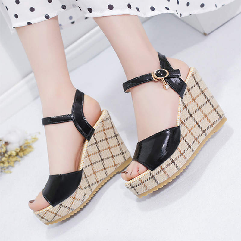Wedges Shoes Platform Sandals High-Heels Fish-Mouth Women Gingham Super Summer Chaussures