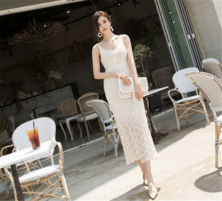 Colorfaith New 2020 Summer Women Dresses Sundress Knitting V-Neck High Elastic Waist Elegant Sexy Casual Lace Long Dress DR2930
