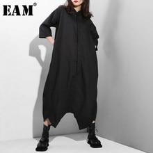 EAM – combinaison taille haute pour femme, pantalon ample, jambes larges, poches, couture, mode Tide YA116, nouvelle collection printemps automne 2021