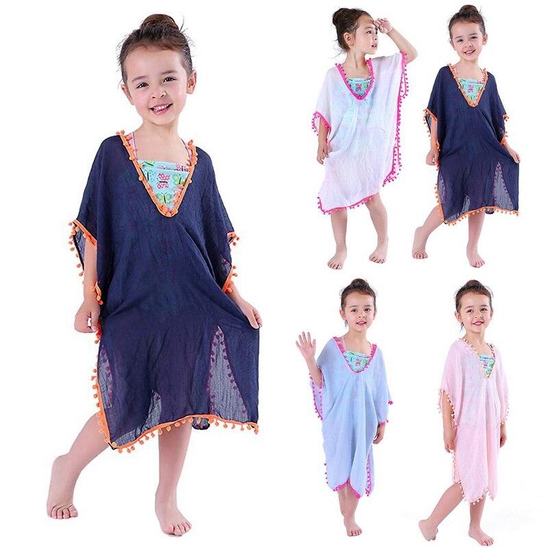 Baby Girls Swim Dresses Kids Beach Cover-Ups Tassel Hook Flower Fringe Sundress Child Summer Swimwear Cover Up