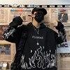 Kpop retro flame print hoodie Korean version ins Harajuku bf style street hip-hop loose plus velvet sweatshirt for men and women 2
