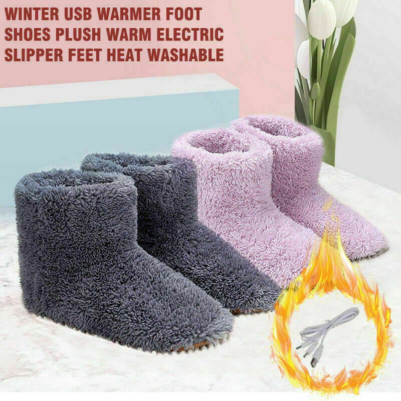 Winter USB Warmer Foot Shoe Plush Warm Electric Slipper Feet Heated Washable Warm Fluffy Rechargeable Booties New Arrival 2019