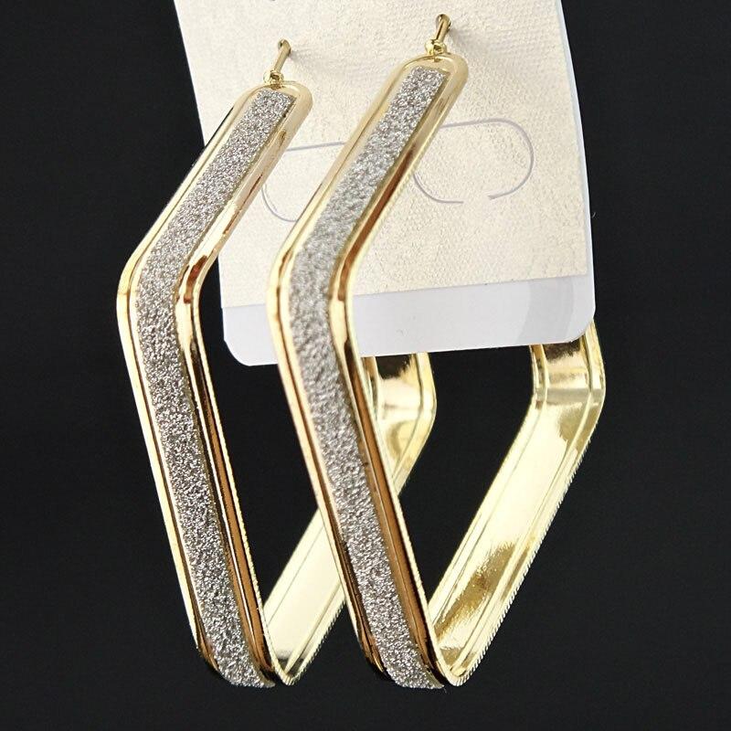 Лидер продаж, модные женские серьги-кольца с принтом зебры из матового серебра, большие вечерние ювелирные изделия, женские серьги в подарок - Окраска металла: Gold square