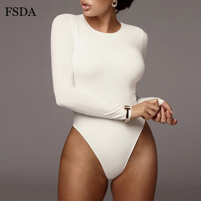 FSDA O Neck Long Sleeve Solid White Sexy Bodysuit Women Black Autumn Winter Body Top Gray Casual Lady Streetwear Bodysuits 6