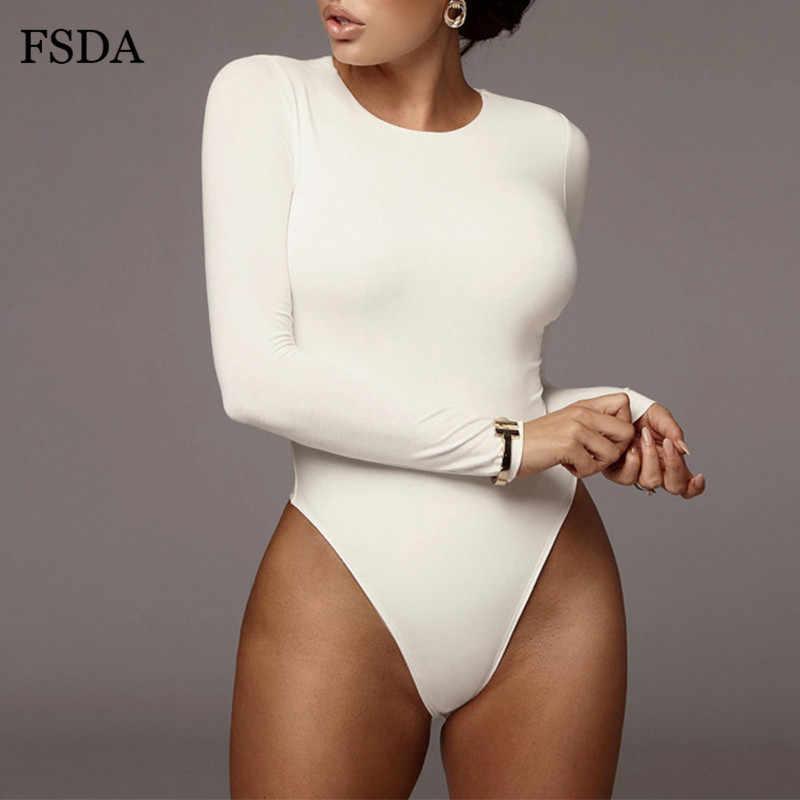 FSDA O boyun uzun kollu katı beyaz seksi Bodysuit kadın siyah sonbahar kış vücut üst gri rahat bayan Streetwear Bodysuits