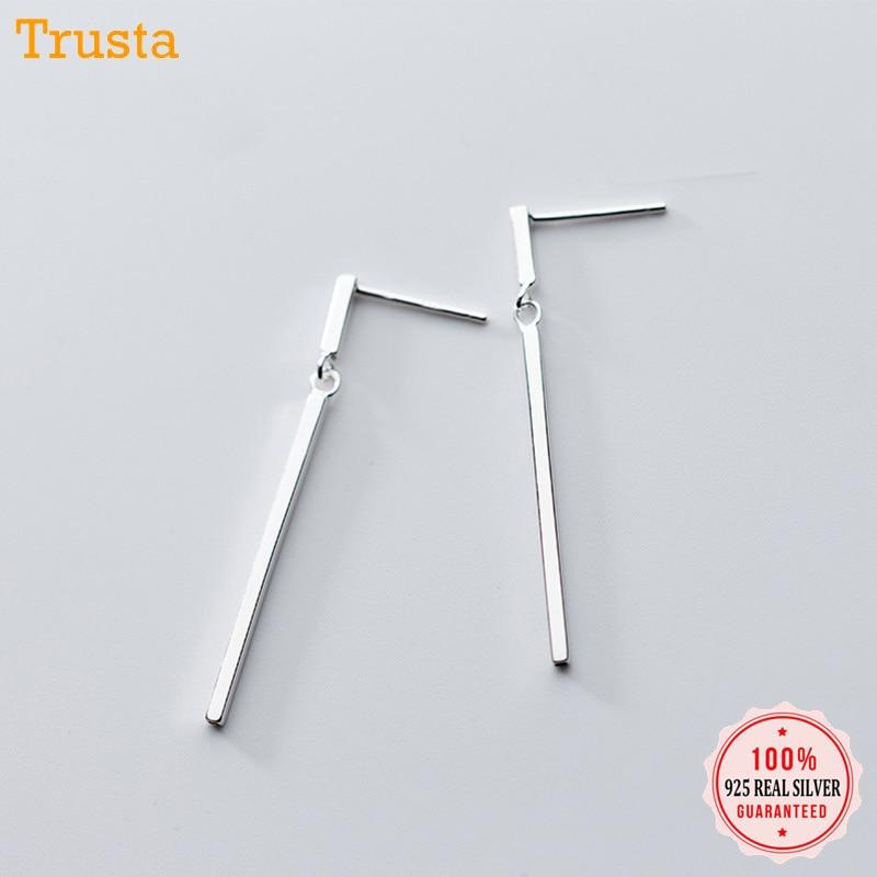 Trustdavis 2019 100% 925 Solid Real Sterling Silver Tassel Stick 3.9cm Stud Earrings Xmas Gift For Teen Girls Women DA185