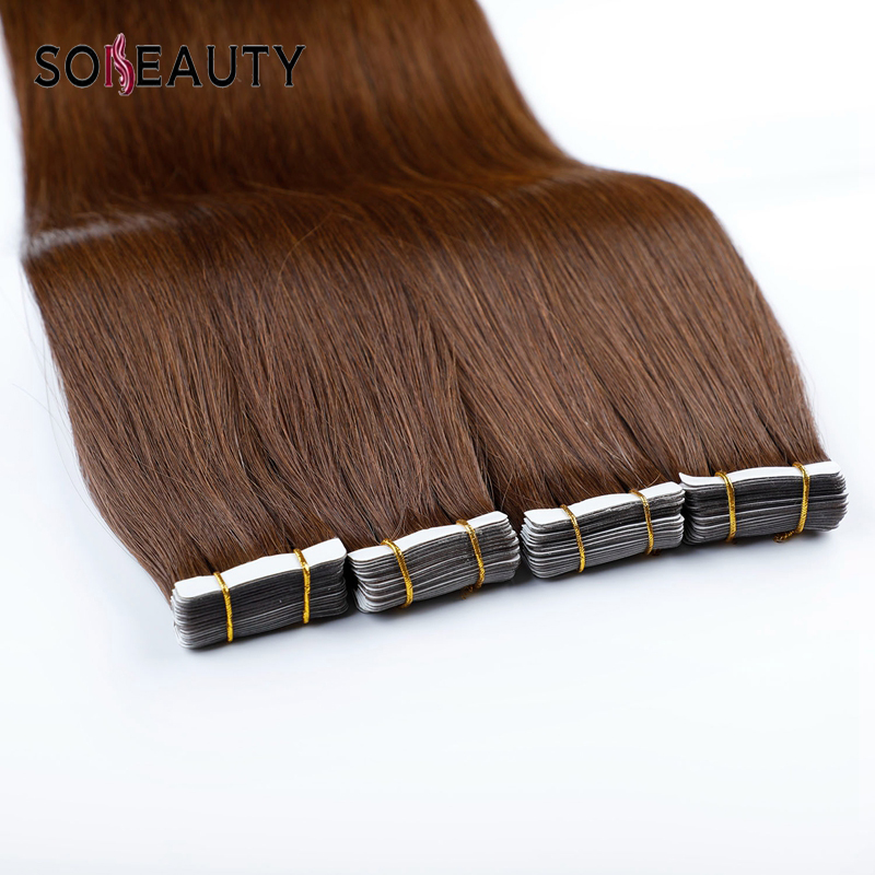Sobeauty Remy Hair Tape Hair Extensions Human Hair Skin Weft Hair Extensions 14''18''20'' Brown Color Real Hair Extensions