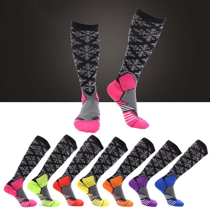 7 Colors Compression Socks Knee High/Long Printed Polyester Nylon Hosiery Cycling Footwear Accessories For Women Men 20-30 MmHg
