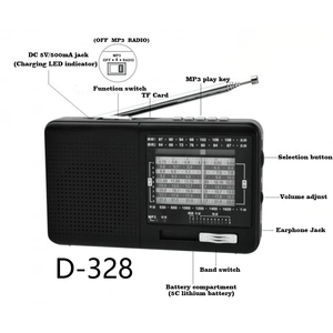 Image 4 - XHDATA D 328 שחור נייד רדיו AM FM SW 12 להקות עם DSP/MP3 מוסיקה נגן TF כרטיס חריץ ארוז עם סוללה נטענת