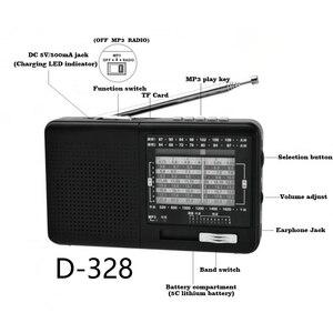Image 4 - XHDATA Radio portátil D 328 con reproductor de música, SW FM Radio AM, 12 bandas con reproductor de música DSP/MP3 y ranura para tarjeta TF, paquete con batería recargable, color negro