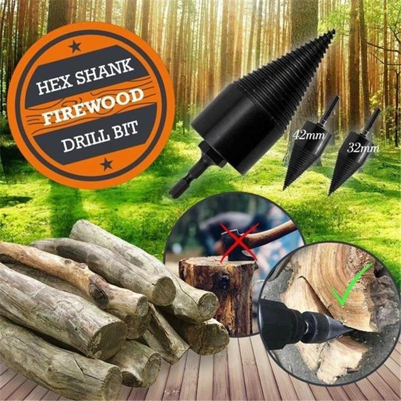 Plummy 32/38/42MM Firewood Splitter Machine Drill Wood Cone Punch Driver Square shank/Round shank/Hex shank Drill Bit Split Drilling To
