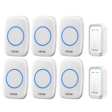 CACAZI Intelligent Wireless Doorbell Waterproof 300M Remote LED Battery Button US EU UK Plug Smart Calling Door Bell 38 Chimes cacazi 9809 ac remote control wireless doorbell waterproof wireless door bell elderly pager or door chimes 2 1 match design