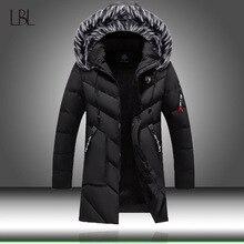 Kurtka zimowa moda męska Casual Slim grube ciepłe płaszcze męskie parki z kapturem długie płaszcze mężczyzna/futrzany kołnierz damski Parka znosić