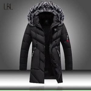 Image 1 - Winter Jacket Men Fashion Casual Slim Dikke Warme Jassen Heren Parka Met Capuchon Lange Overjassen Man/Vrouwen Bontkraag parka Uitloper