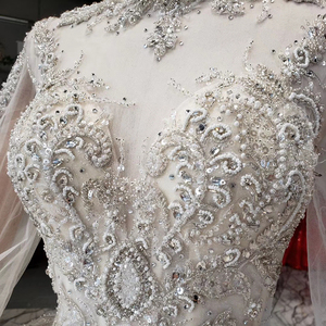 Image 5 - HTL969 ball gown wedding dress long sleeve tulle lace bead sequin illusion luxury wedding gown high neck свадебные платья 2020