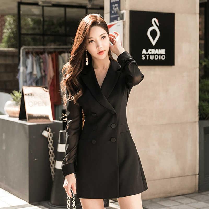 Moda kadın rahat kruvaze yüksek kaliteli ceket yeni varış sonbahar zarif giyim iş tarzı uzun ceket Ceket