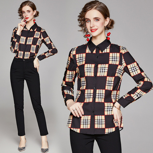 Big Checked Women Blouse Long Sleeves blusas mujer de moda Plaid blusas de mujer Spring Fall chemisier femme women clothes Sexy 1