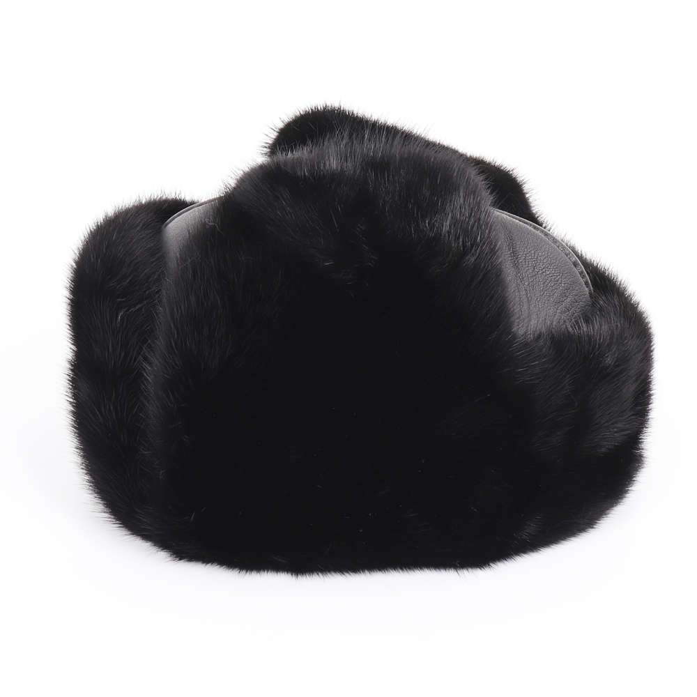 2019 New Winter Russian Men Real Mink Fur Bomber Hats Male Warm 100% Natural Mink Fur Hat Luxury Man Real Sheepskin Leather Cap 2