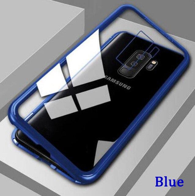 Металлический магнитный адсорбционный чехол для samsung Galaxy Note 10, S8, S9, S10 Plus, S10e, S7 Edge, Note 8, 9, 10+ закаленное стекло, Магнитная крышка - Цвет: Transparent Blue