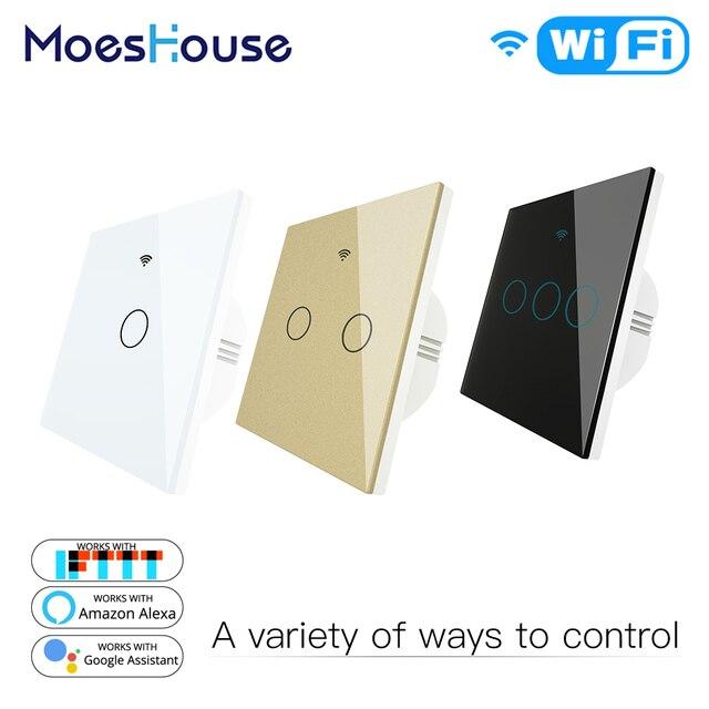 WiFi スマートスイッチ RF433 リモコンガラスパネルライトスイッチスマートライフチュウヤ Alexa エコー Google ホーム 1 で動作 /2/3 ギャング