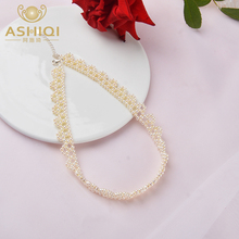 ASHIQI Fashion Natural Freshwater Pearl Choker Necklace for Women Handwork Weave Lace Jewelry Gift yikalaisi 2017 long multilayer pearl necklace natural freshwater pearl choker charm accessories statement necklace for women