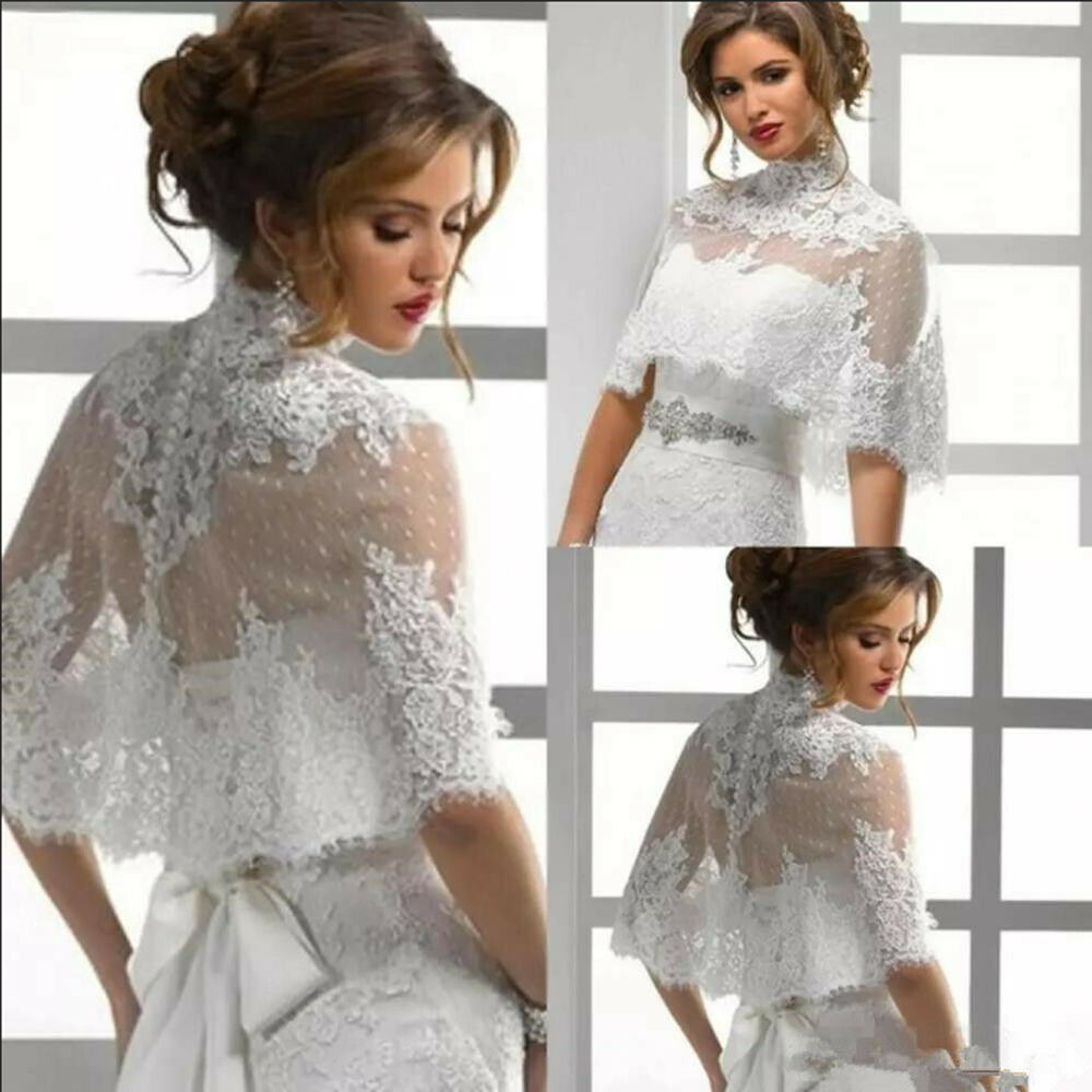 High Neck Wedding Cape Lace Hem Bridal Jackets Elegant Shawl Appliques White Ivory Bride Shrugs