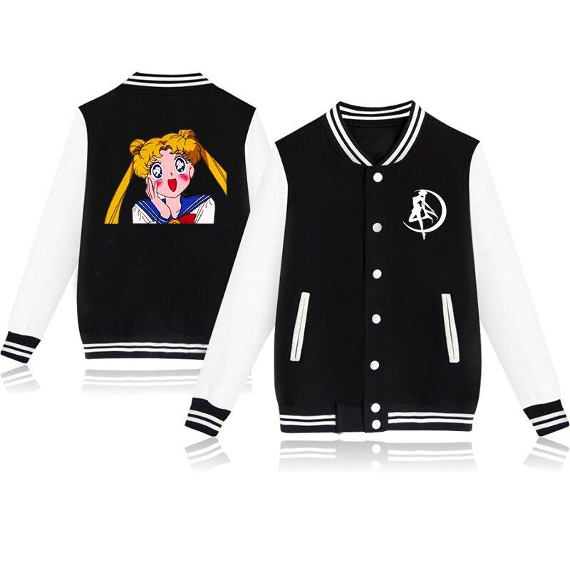 Fashion Anime Sailor Moon Coat Harajuku Sweatshirt Pink Clothes For Teenage Girls Baseball Jacket Outwear Womens Clothing Winter