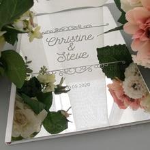 Espejo libro de invitados boda personalizado de tallado y grabado personalizado Libro de Visitas personalizado fecha nombres fiesta Vintage real Retro G016
