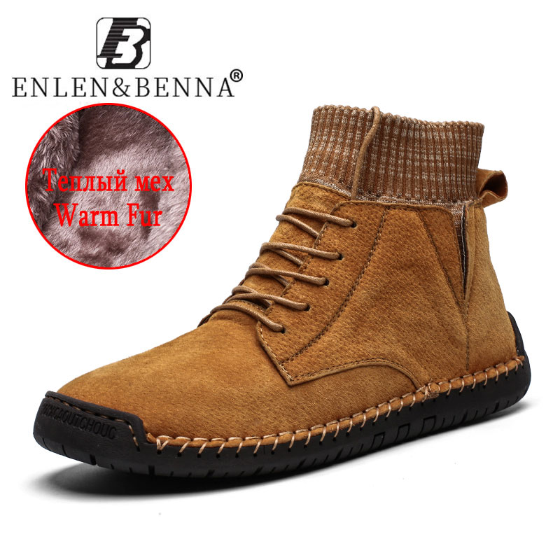 2019 Men's Winter Shoes Warm High Quality Snow Boots Leather With Fur Breathable High Ankle Shoes Light Sneakers Big Size 48