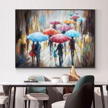 Abstracto pessoas andando na chuva com guarda-sóis pintura a óleo 100% artesanal sobre tela moderna arte da parede decorativa