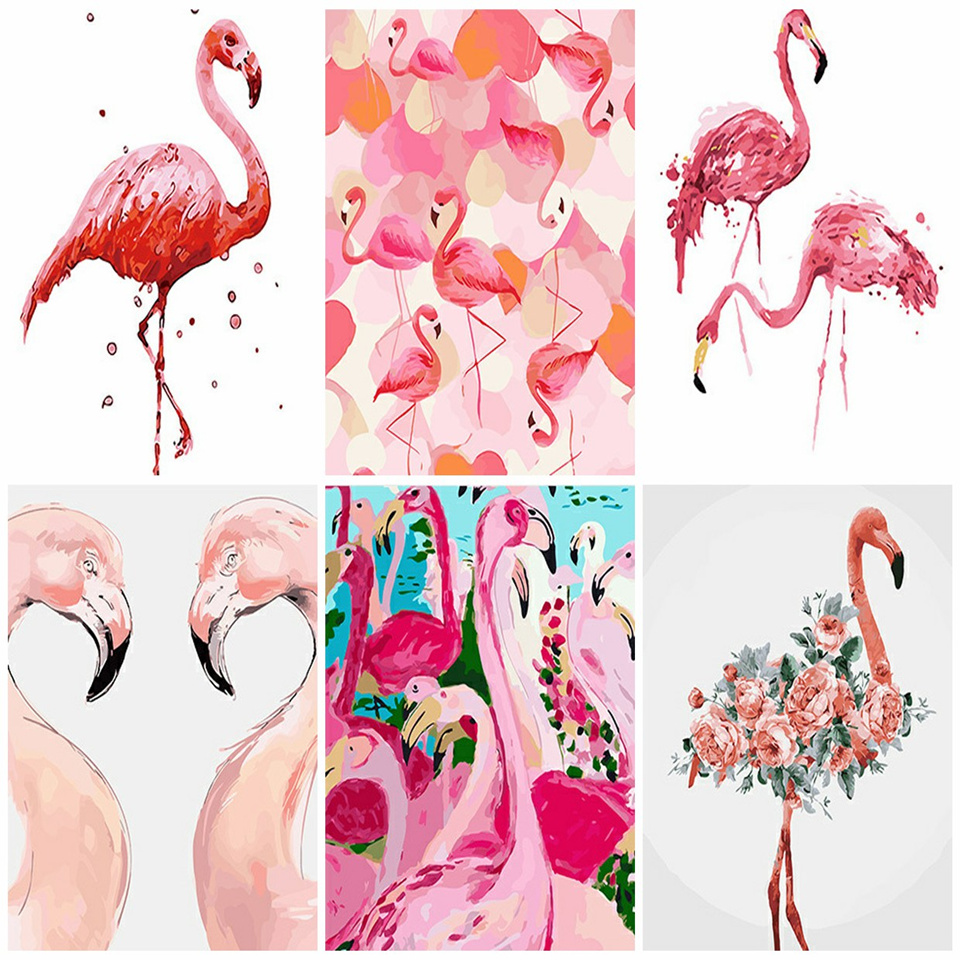 AZQSD Animal Oil Paint By Numbers Canvas Painting Bird Flamingo Coloring By Numbers Posters And Prints Unfinished DIY Hobby