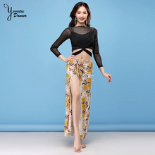 Autumn And Winter New Belly Dance Clothing Practice Clothes Sexy Long-Sleeved Modal Split Skirt Dress Women