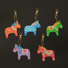 5Pcs Kids Early Education Fun Learning Toys For Children DIY Coloured Horse 5D Diamond Painting Key Ring Chain Pendant Gift W917(China)