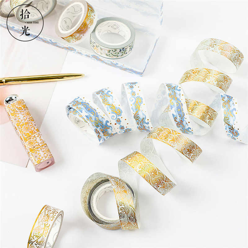 Un carrete de cinta de Washi A la moda A rayas/cuadrícula/Flores básico de papel de Color sólido cinta adhesiva Etiqueta de álbum de recortes cinta adhesiva