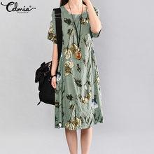Celmia Summer Sundress Women Bohemian Floral Printed Dress Ladies Short Sleeve Casual Female Bohemian Midi Dress Plus Size 5XL