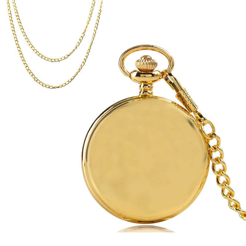 30cm+80cm Fob Chain Luxury Gold Antique Quartz Pocket Watch Smooth Full Hunter Pendant Clock Gifts