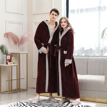 Fashion mens hooded bathrobe autumn/winter flannel coral fleece padded long couples pajamas women халат женский