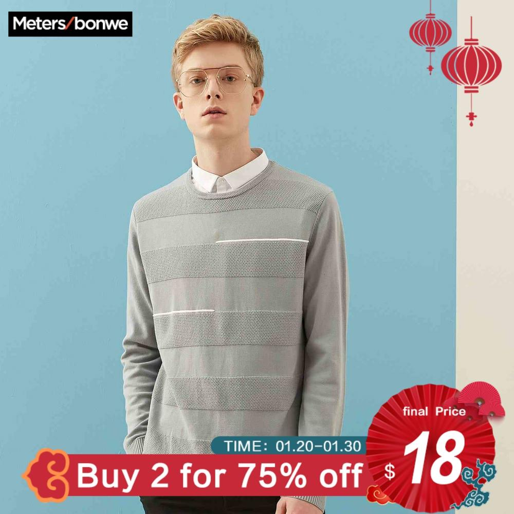 Metersbonwe Sweater Men 2019 Autumn Fashion Long Sleeve Knitted Men Cotton Sweater Leisure High Quality Clothes